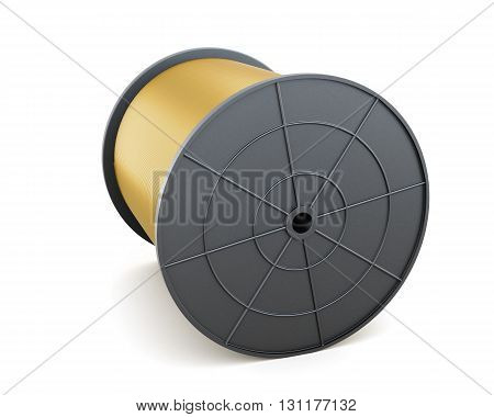 Cable on spool isolated on white background. 3d rendering.