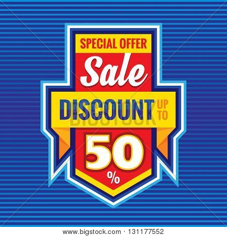 Sale - discount up to 50% - special offer - vector advertising banner. Sale vector promotion layout.