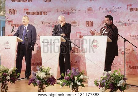 Moscow, Russia - May, 23, 2016: businessman Mikhail Kusnirovich,  directors of the La Scala Aleksander Pereira and Moscow Bolshoy Theatre Vladimir Urin, on the press conference in Moscow.