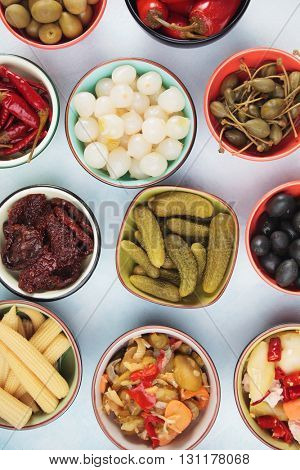 Pickled cucumber, peppers, olives, onion and vegetables