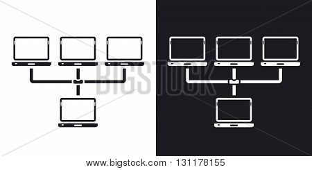 Vector network icon. Two-tone version on black and white background
