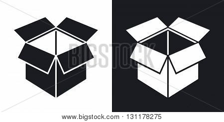 Vector open box icon. Two-tone version on black and white background