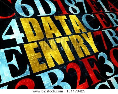 Information concept: Pixelated yellow text Data Entry on Digital wall background with Hexadecimal Code