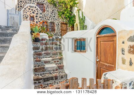 Stairs, Doors, Architecture at Santorini Island, Greece