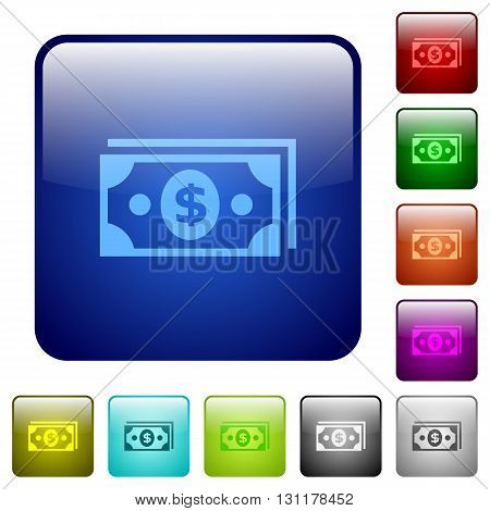 Set of color dollar banknotes glass web buttons.