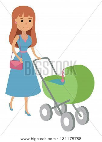 Woman pushing pram. Vector illustration isolated on white.