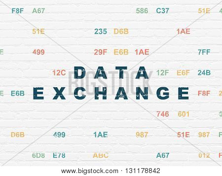 Information concept: Painted blue text Data Exchange on White Brick wall background with Hexadecimal Code