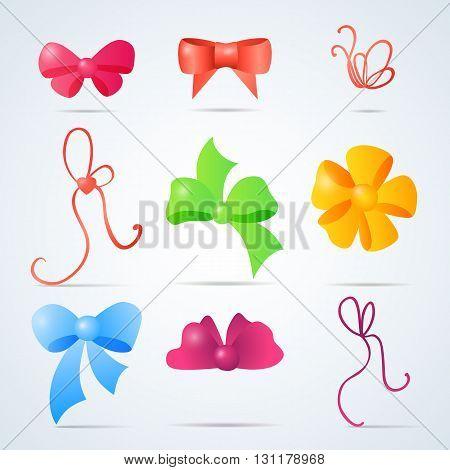 set of colors vector design ribbon bows