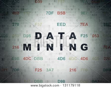 Information concept: Painted black text Data Mining on Digital Data Paper background with Hexadecimal Code