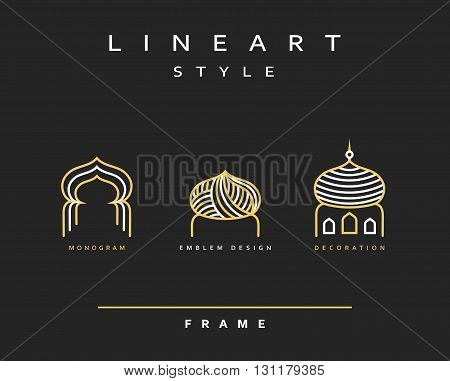 Icon design for celebrating Ramadan Kareem. Arabic Buildings line art