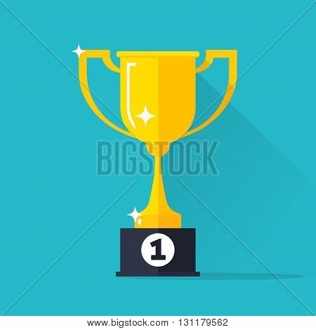 Golden cup vector illustration isolated on blue background gold cup icon with winner 1st place pedestal shiny yellow cup golden flat cartoon design