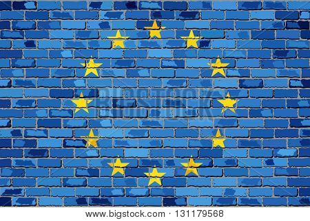 Flag of Europe on a brick wall - Illustration, European flag on brick textured background,  Abstract grunge European Union flag