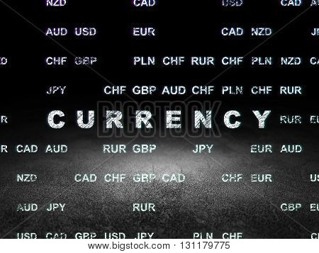 Currency concept: Glowing text Currency in grunge dark room with Dirty Floor, black background with Currency