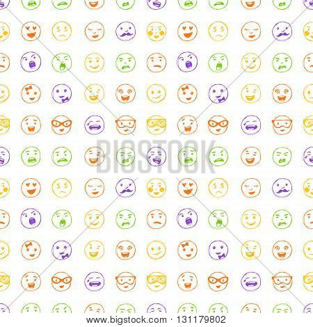 Seamless Pattern Of Hand Drawn Color Lines Smiles.