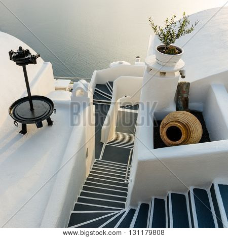 Architecture, Stairs on Santorini Island, Cyclades, Greece