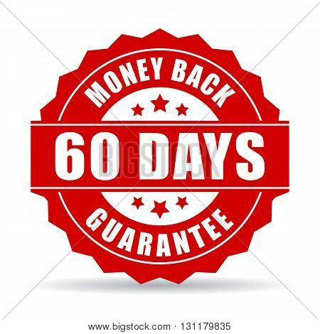 60 days money back guarantee icon isolated on white background