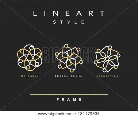 Set of elegant line art design. Monogram design element. Line art pattern for use in the design . Monogram decor . Emblem design.