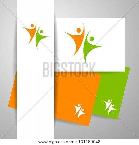 Success team logo. Identity business template. Team logo. Abstract people logo. Design element.