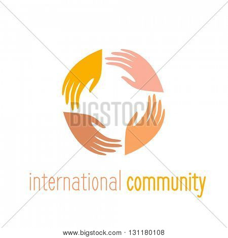 International community. Logo template. People connect sign.