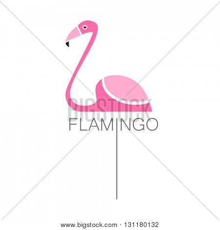 Flamingo logo. Flamingo isolated on white background.  Exotic bird. Flamingo illustration idea for logo, emblem, symbol, icon.