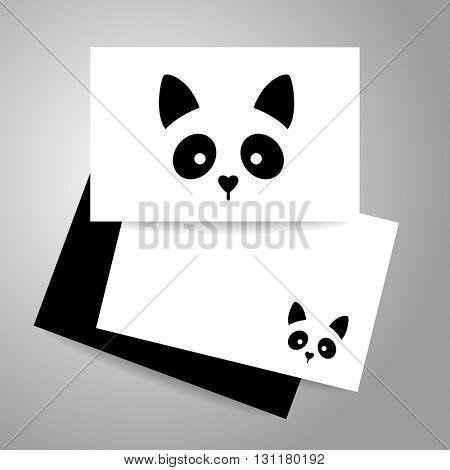 Cat logo. Cat card design template. Cat illustration idea for logo, emblem, symbol, icon, label.