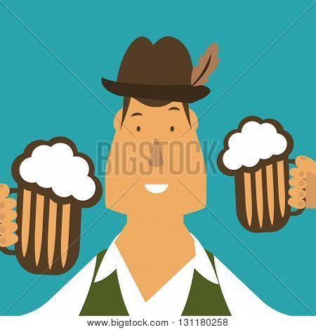 Flat Illustration Of German Men With Beer. Vector