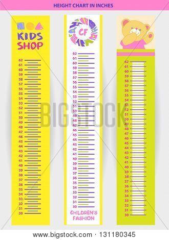 Vector Illustration Stadiometer For Children, Measuring In Inche