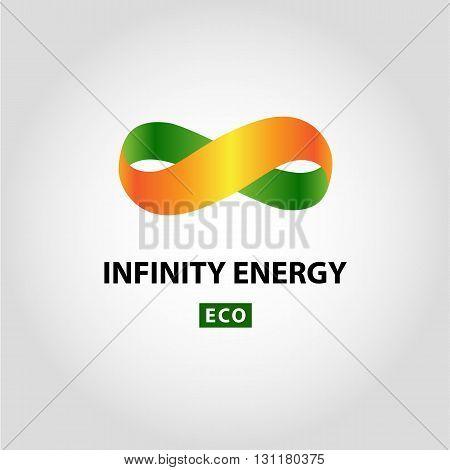 Infinity vector logo. Logotype green and sun eco energy.