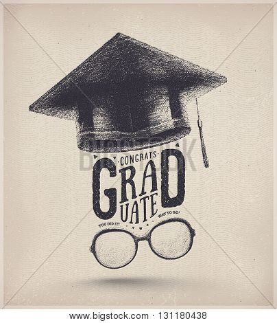 Congratulations on graduation, graduate cap and glasses, eps 10