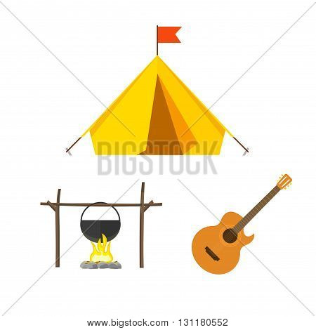 Camping equipment vector set isolated on white background camping icons flat style camping tent campfire cauldron camp fire cartoon illustration design