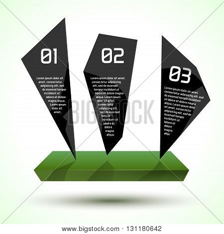 Dark glossy trendy infographic design with platform. Eco theme vector