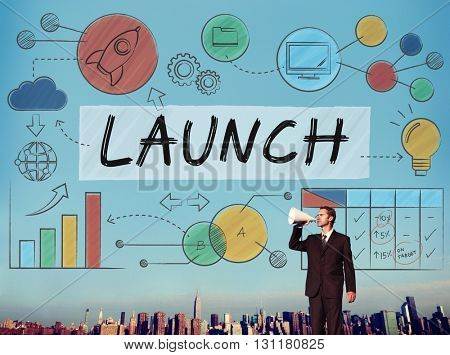 Launch Growth Analysis Data Information Start up Concept