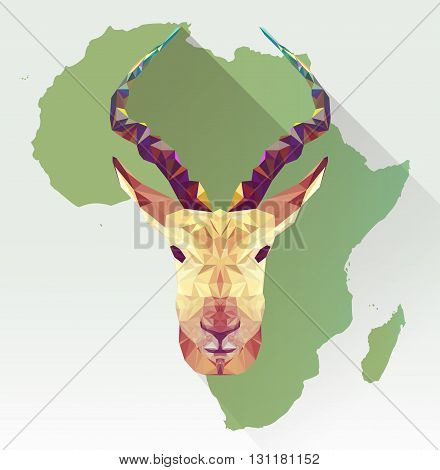 Vector image springbok in  flat design with long shadow. Geometric antelope illustration in polygon style. Gazelle low poly. African mammal. Animal triangle icon. African springbok. Africa map