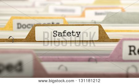 Safety Concept on File Label in Multicolor Card Index. Closeup View. Selective Focus. 3D Render.