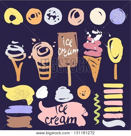 Color Icon For Sweet Shop, Cafe, Restaurant. Vectors Brush To Dr