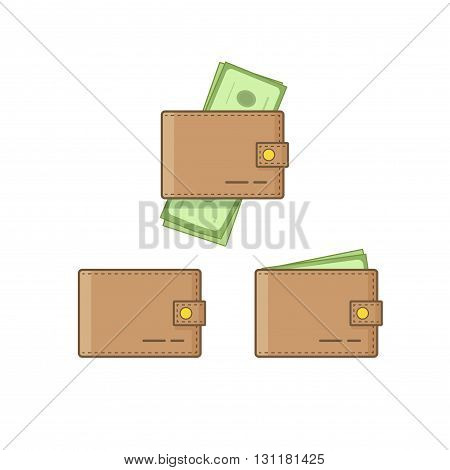 Wallet with money vector icon set isolated on white background empty wallet and brown pocketbook cash flat cartoon simple design linear outline style