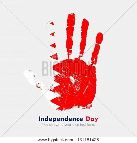 Hand print, which bears the Flag of Bahrain. Independence Day. Grunge style. Grungy hand print with the flag. Hand print and five fingers. Used as an icon, card, greeting, printed materials.