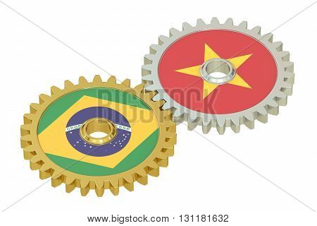Brazilian and Vietnamese flags on a gears 3D rendering isolated on white background