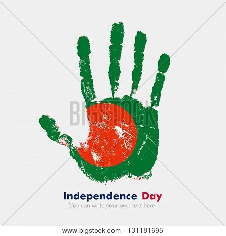 Hand print, which bears the Flag of Bangladesh. Independence Day. Grunge style. Grungy hand print with the flag. Hand print and five fingers. Used as an icon, card, greeting, printed materials.
