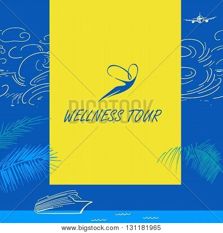 Vector Logo Wellness Tour. Cruise Liner. Color Background With S