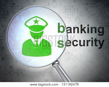 Safety concept: magnifying optical glass with Police icon and Banking Security word on digital background, 3D rendering