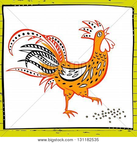 Rooster decorated with patterns. Products from chicken meat and eggs. Hand drawn vector illustration color rooster