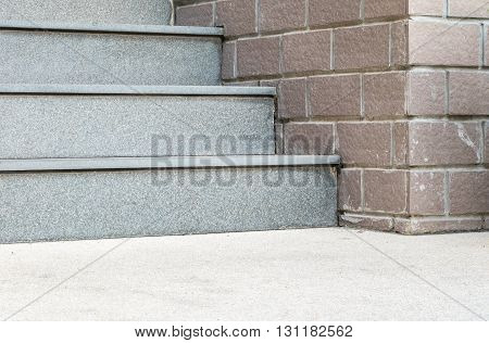Beautiful stone stairs at the in front of building