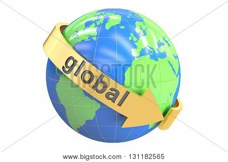 Global concept 3D rendering isolated on white background