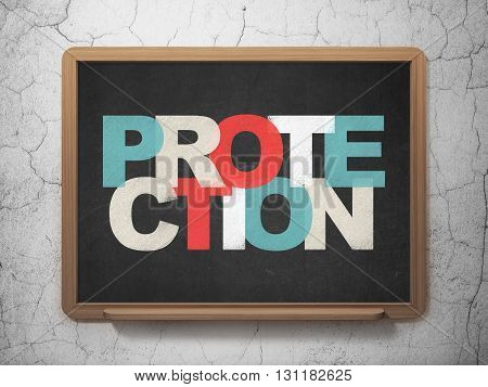 Safety concept: Painted multicolor text Protection on School board background, 3D Rendering