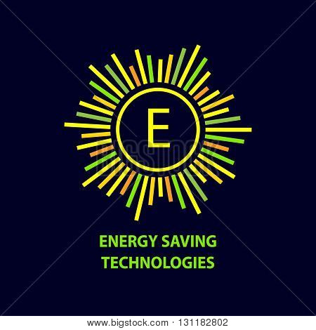 Vector logo, energy efficiency, eco energy, sun energy. A set of abstract logos refining of natural energy, transport and ecological use of natural resources.