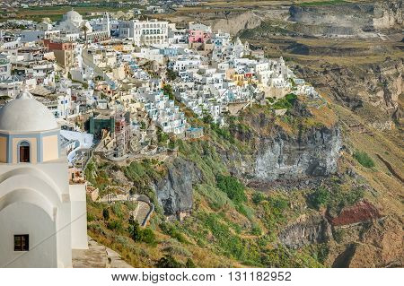 Landscape, Fira town, Santorini Island, Cyclades, Greece