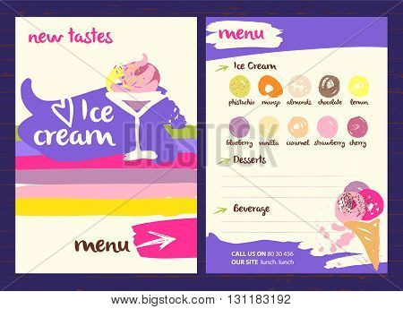 Vector logo with very tasty new ice cream illustration. Different kinds sweet drinks and desserts with fruit flavors on a colored background in a restaurant or cafe menu.