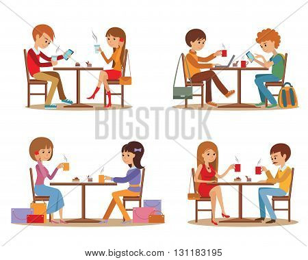 Group of friends In cafe. Coffee break and dating.