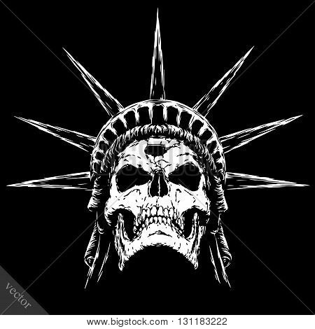 black and white engrave isolated evil vector skull face
